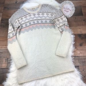 Listcle Popcorn Knit Mohair Sweater Tunic Dress